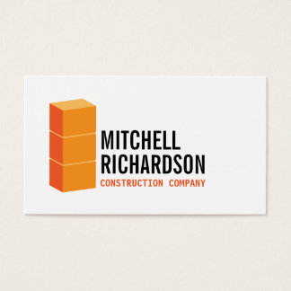 Orange Blocks Logo Construction Builder Contractor Business Card