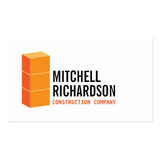 Orange Blocks Logo Construction Builder Contractor Double-Sided Standard Business Cards (Pack Of 100)