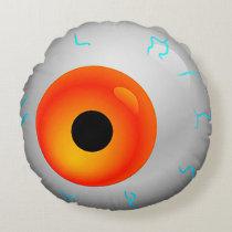 Orange Bloodshot Eye Zombie Halloween Round Round Pillow