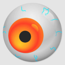 Orange Bloodshot Zombie Eyeball Halloween Classic Round Sticker