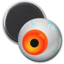 Orange Bloodshot Zombie Eyeball Halloween Magnet