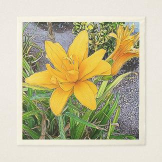 Orange Bloom and Bud Photograph Paper Napkin