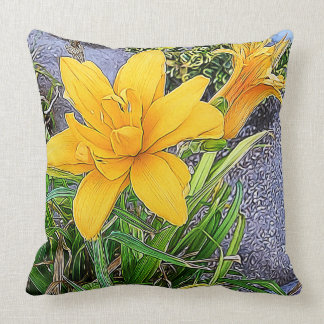 Orange Bloom and Bud Photograph Throw Pillow