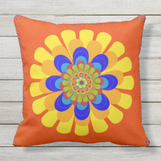 Orange Bloom Flower Outdoor Pillow