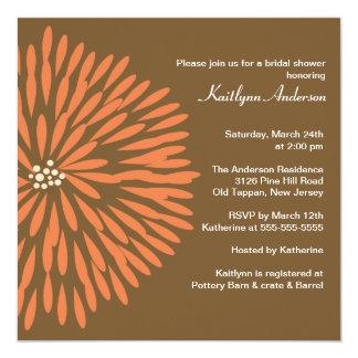 Orange Bloom on Brown Bridal Shower Invitation
