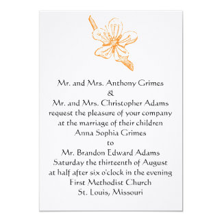 "Orange Blossom 5x7 Invitation 5"" X 7"" Invitation Card"