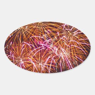 Orange Blossom Bursts - Sydney Harbour Fireworks Oval Sticker