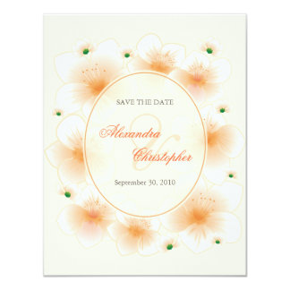 Orange Blossom Flowers Romantic Save The Date Card