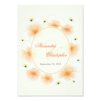 Orange Blossom Flowers Romantic Wedding Announce Card