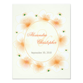 Orange Blossom Flowers Romantic Wedding Card