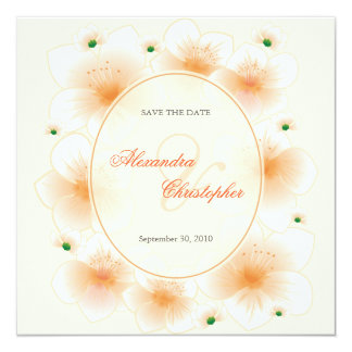 Orange Blossom Romantic Save The Date Wedding Card