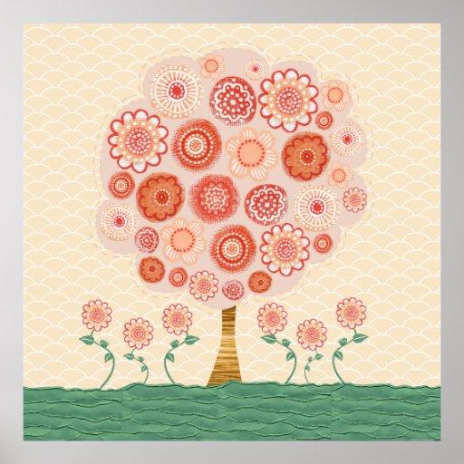Orange Blossom Tree Mixed Media Poster Print Art