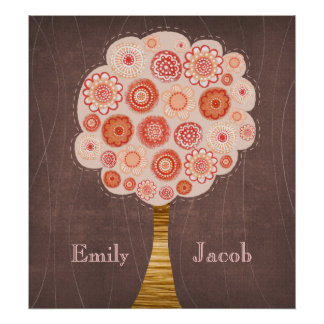 Orange Blossom Tree Wedding Name Wall Poster