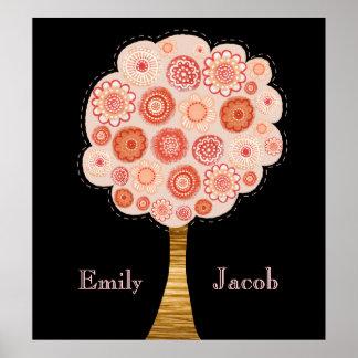 Orange Blossom Tree XL Wedding Name Wall Poster