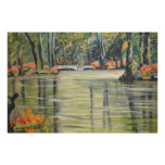 Orange Blossoms on Marsh Creek with Bridge Canvas Posters