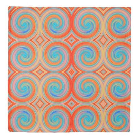 Orange Blue Abstract Swirl Pattern Duvet Cover