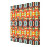 Orange Blue And Brown Pattern Gallery Wrapped Canvas