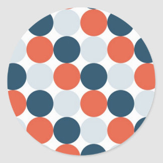 Orange Blue and Light Blue Dots Classic Round Sticker