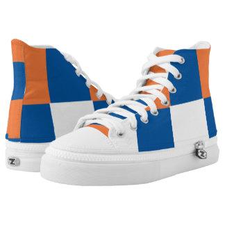 Orange Blue and White Checkered Hi-Top