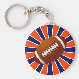 Orange Blue and White Football Retro Keychain