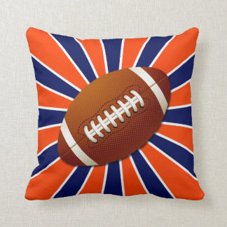 Orange Blue and White Football Retro Pillow