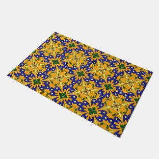 Orange Blue And Yellow Spanish Tile Pattern Doormat