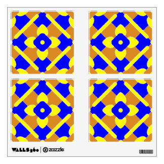 Orange Blue And Yellow Spanish Tile Pattern Wall Decal