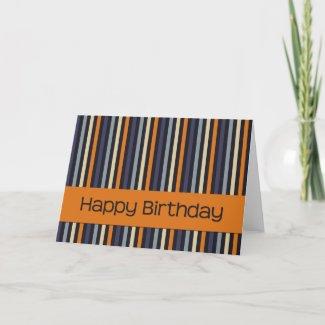 Orange & Blue • Birthday Card zazzle_card