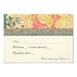 "Orange Blue Boho Chic Gypsy rsvp 3.5"" X 5"" Invitation Card"