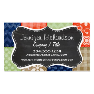 Orange, Blue, Brown and Sage Green Patchwork look Business Card Templates