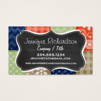 Orange, Blue, Brown and Sage Green Patchwork look Business Card