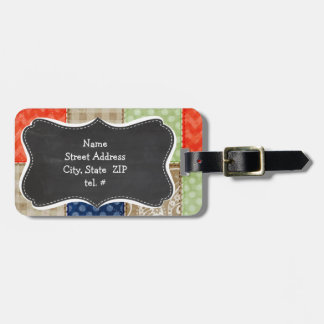Orange, Blue, Brown and Sage Green Patchwork look Luggage Tag
