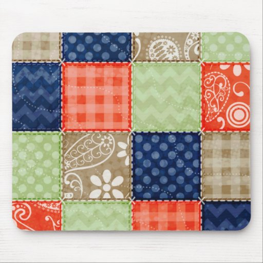 Orange, Blue, Brown and Sage Green Patchwork look Mouse Pad
