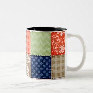 Orange, Blue, Brown and Sage Green Patchwork look Coffee Mug