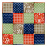 Orange, Blue, Brown and Sage Green Patchwork look Poster