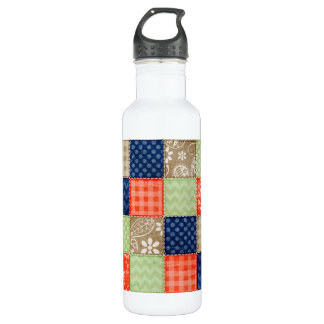 Orange, Blue, Brown and Sage Green Patchwork look Stainless Steel Water Bottle
