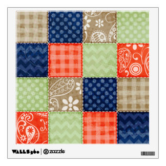 Orange, Blue, Brown and Sage Green Patchwork look Wall Decal