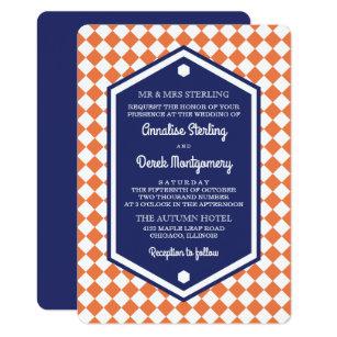 Orange Blue Checkered Wedding Invitation