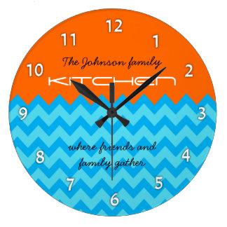 Orange & Blue Chevron Family Kitchen Wall Clock