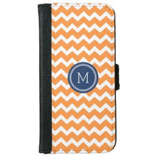Orange Blue Chevron Pattern Monogram Wallet Phone Case For iPhone 6/6s