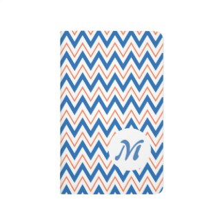 Orange Blue Chevron Stripes Custom Monogram
