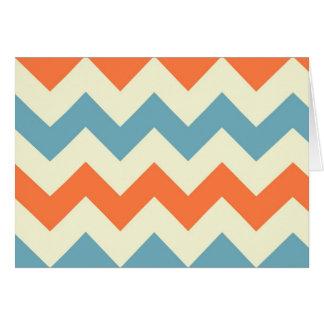 Orange blue chevron zigzag stripes zig zag pattern card