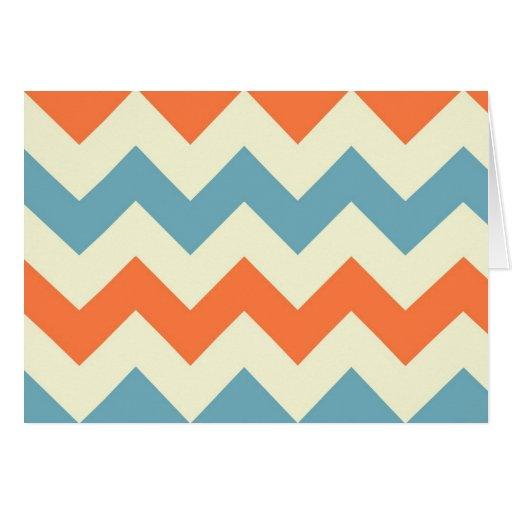 Orange blue chevron zigzag stripes zig zag pattern card Zazzle