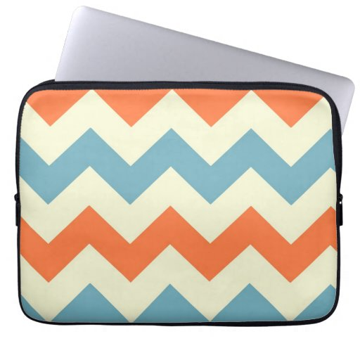 Orange blue chevron zigzag stripes zig zag pattern computer sleeve