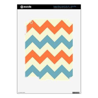 Orange blue chevron zigzag stripes zig zag pattern decals for iPad 3
