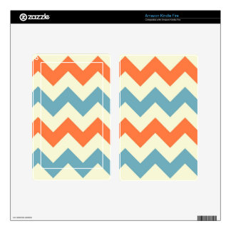 Orange blue chevron zigzag stripes zig zag pattern decals for kindle fire