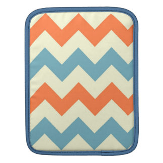 Orange blue chevron zigzag stripes zig zag pattern iPad sleeve