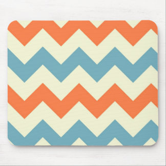 Orange blue chevron zigzag stripes zig zag pattern mouse pad