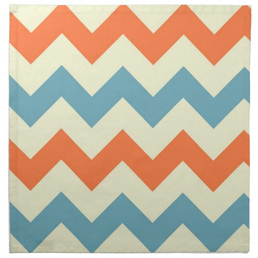 Orange blue chevron zigzag stripes zig zag pattern napkins