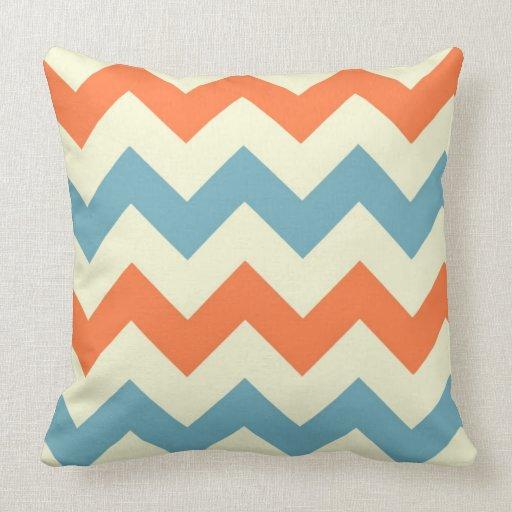 Orange blue chevron zigzag stripes zig zag pattern throw pillows Zazzle